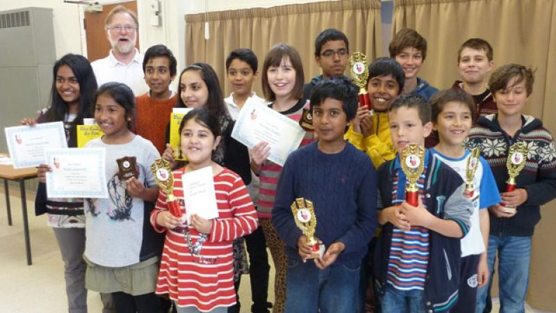 Some of the Prizewinners at the Colchester Junior Chess Tournament 2014