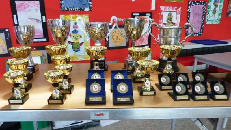 Trophies for the successful players in the Essex Junior Grand Prix 2013/14